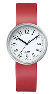 Alessi Record horloge met rode band